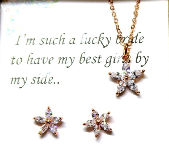 Flower girl Jewelry, Rose Gold CZ Necklace Set, Wedding Party Jewelry, Junior Bridesmaid gift, Rose Gold Earrings, Flower girl gift Set