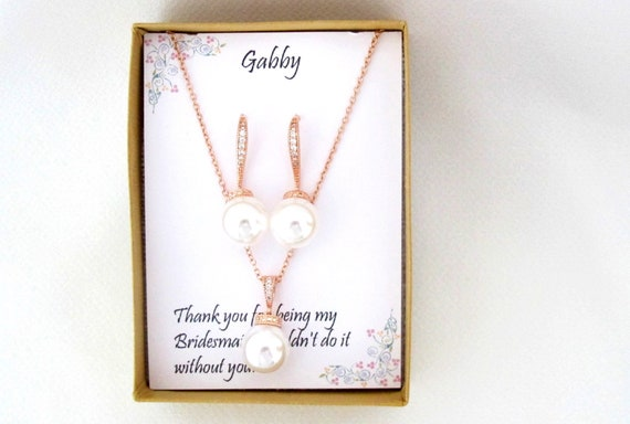Pearl dangle Bridesmaid Rose Gold Necklace Earrings Set ,Bridesmaid Jewelry Set Gift, Custom  wedding jewelry set Bridesmaid jewelry set