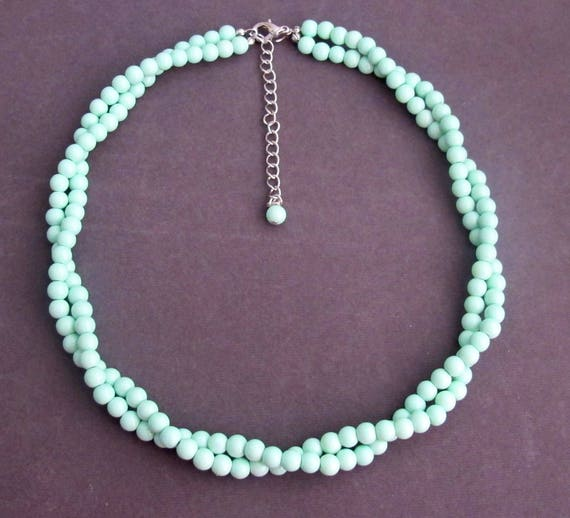 Mint Green Beads Twisted Necklace,Mint Green Jewelry,Bridesmaid Wedding Necklace,Bridal Party Jewelry,Wedding Gift Ideas,Free Shipping USA
