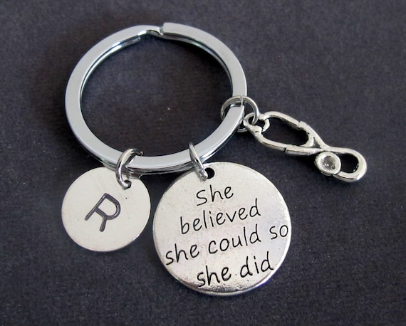 She believed she could so she did, Nurse Gift, Nursing, Graduation, Stethoscope Key Chain, Medical Personalized Keyring, Free Shipping USA