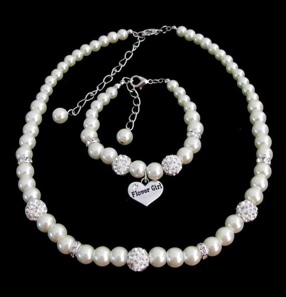 Flower Girl Jewelry Set Flower Girl Necklace Junior Bridesmaid Gift - Flower Girl Gift Mini Bride Jewelry,Flower Girl  Free Shipping USA