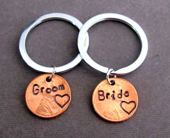 2 Penny Keychain, Anniversary gift,Lucky Penny Keychain,Customize couple keychain,Bride and Groom Gift, Wedding Gift, Free Shipping USA