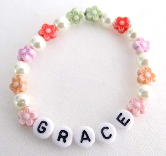 Personalized Girls Baby Girls Children Stretchable Bracelet Flower Girl Name Bracelet Free Shipping In USA