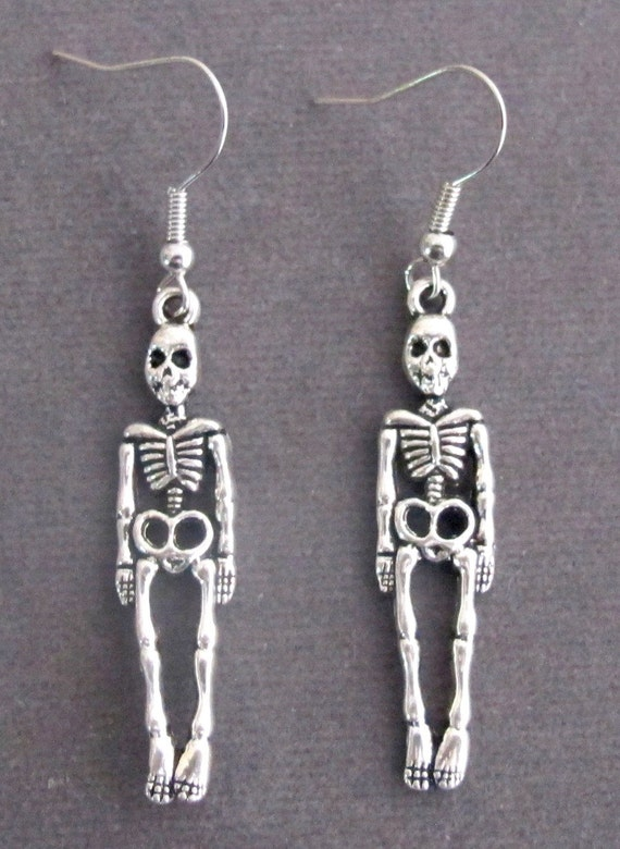 Skull Earrings, Skeleton Earrings,Skeleton Dangle Earrings,halloween - silver metal alloy - spooky, Skull earrings - Halloween gifts