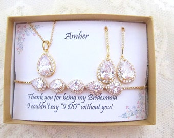Bridesmaid necklace bracelet earrings set, Bridesmaid necklace, Bridesmaid earrings, Wedding jewelry set, Rose gold jewelry, Proposal gift