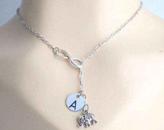 Infinity Elephant Necklace Personalized Infinty Elephant Infinity Necklace Lariat Necklace Infinity Elephant Charm Free Shippin In USA