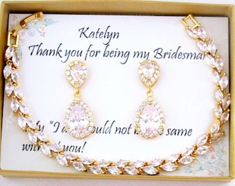 Custom  bridesmaid gift, Pear CZ bridesmaid earrings, Bridesmaid necklace earrings set,Wedding earrings Gold bridesmaid jewelry Wedding gift