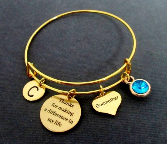 Gift for Godmother,Christmas gift for Bonus mom,Godmother Bangle,Gold Bangle Bracelet,Bonus Mom Gift,Gift for Step Mom Free shipping In USA