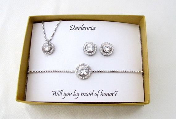 Custom bridesmaid gift necklace earrings set Bridesmaid earrings, Bridesmaid necklace, earrings and bracelet set,Rose Gold Jewelry Set