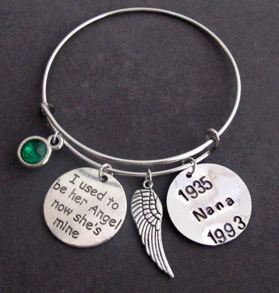 I used to be her angel now she's mine, Mom Memorial, In Memory of Mom,Remembrance-loss of mother Personalized Bracelet, Free Shipping In USA