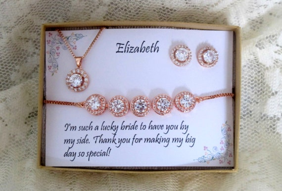 Personalized custom necklace, Rose Gold Bridesmaid Gift Set, Earrings bracelet Bridesmaid Jewelry, Bridal Jewelry Set, Bridesmaid gifts