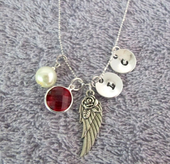 Wing Necklace Memorial Remembrance Necklace Monogram Necklace Personalized Necklace, Silver Pewter Angel Wing Charm Free Shippin In USA