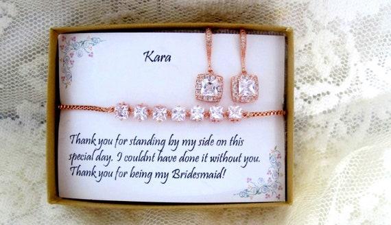 Bridal Earrings, CZ Bracelet, Cubic Zirconia Braclet, Wedding Jewelry Set, Bridesmaid Bracelet Earrings, ROSE GOLD Adjustable  Bracelet