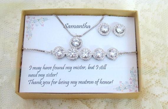 Bridesmaid Earrings gift set, Wedding Earrings, Cubic Zirconia, CZ necklace, bracelet set, Wedding Jewelry, Bridal Earrings Set, Wedding set