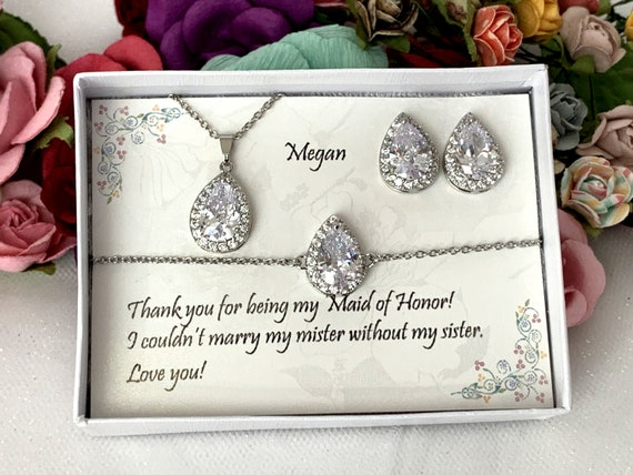 Bridesmaid Bracelet Set, Bridesmaid Earrings, Bridal Party Gifts, Tear drop bridesmaid earrings, Bridal Earrings,  Cubic Zirconia Bracelet,