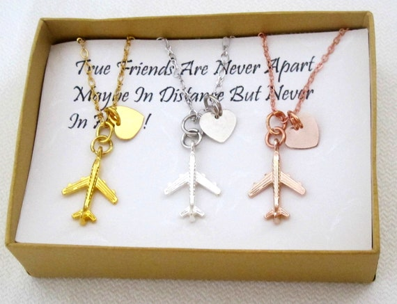 Friendship Necklace,3 Best Friend Gifts,Sister Necklace,Airplane necklace,Distance Jewelry,3 sister gift,Gift for Cousin,Flight Attendant