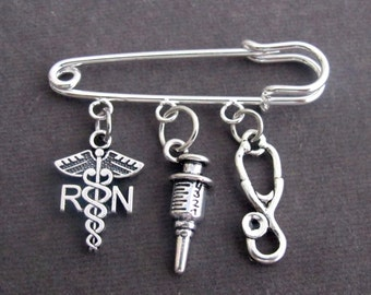 Registered Nurse Safety Pin Brooch, Nurse gift Jewelry, Registered Nurse Graduation Kilt Pin, Nursing Student gift, Free Shipping In USA