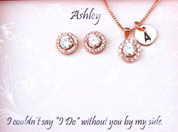 Custom Personalize initial necklace CZ bridesmaid gift Bridesmaid Gift Set Bridal Jewelry custom proposal card bridesmaid WeddingJewelry set