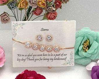 Personalized custom necklace, Rose Gold Bridesmaid Gift Set, Earrings bracelet Bridesmaid Jewelry, Bridal Jewelry Set, Bridesmaid gifts