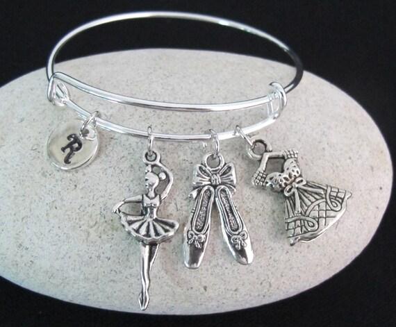 Ballerina Bracelet, Ballet Dance Charm Bracelet Ballet Handmade Silver Jewelry, Ballet Initial Bracelet,Ballet Shoe Dress, Free Shipping USA