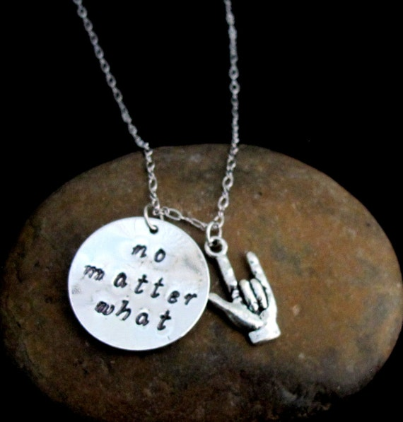 No matter what necklace,ASL Necklace,Valentine Gift, Sister Necklace, Best Friend Gift,bff gift,Long Distance Relationship,Free Shipping USA