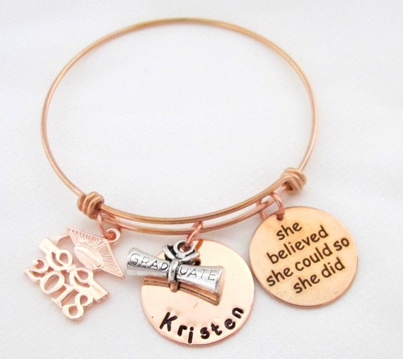 Personalized Graduation Bangle,Class of 2019,Gift for her,She Believed She Could,Graduation Gift,Graduation Degree and Cap,Gift for daughter