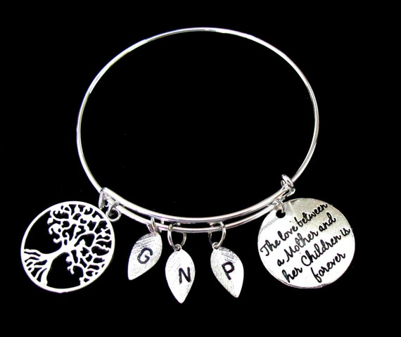 Mother and Her Children Bracelet, Wife Mother Bracelet,Mom Family Tree Bangle Bracelet,Gift for Mom,Gift from Daughter/son,Free Shipping USA