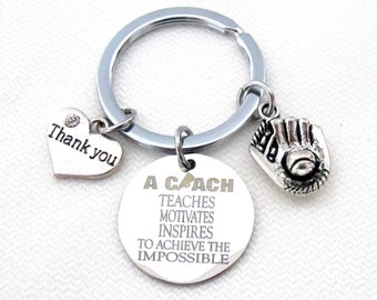 Hand Stamped Personalized Baseball Coach, Baseball Mitt Key chain- Baseball Coach Gift -Baseball Coach Keychain,Thank you gift