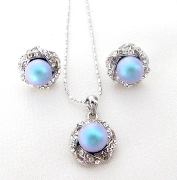 Wedding Pearl jewelry,Pearl Pendant,Pearl Pendant Earrings Lite Blue pearl pendant, Bridal Jewelry,bridesmaid jewelry set,Free Shipping USA