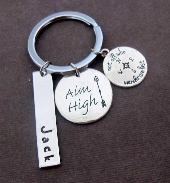 Aim High Keyring,Gruaduation Personalized Keychain, No wonder,Motivation Keychain, Inspirational Gift, Motivational Gift, Free Shipping USA