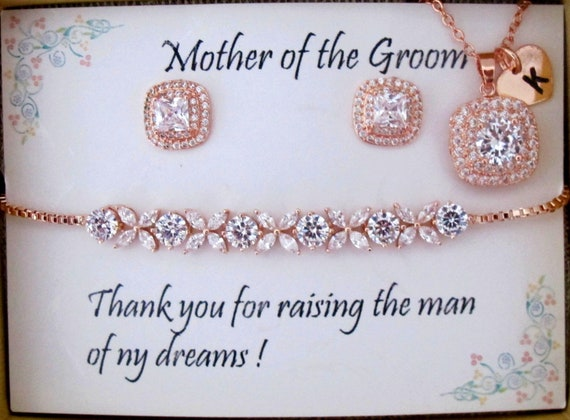 CUSTOM Rose Gold Wedding Jewelry Set,Bridal Earrings,Necklace bracelet set,Crystal Cushion Bridal Earrings,Stud Earrings,Bridesmaid Gift Set