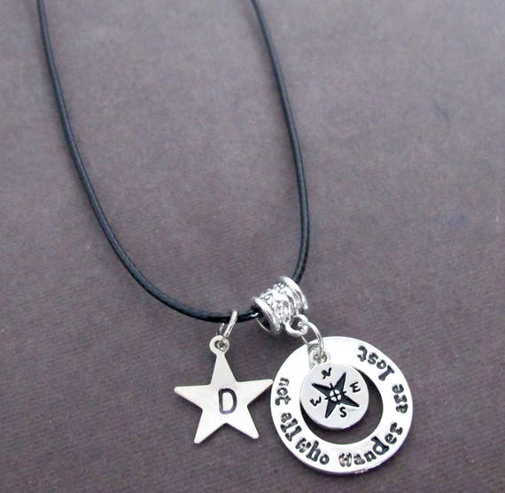 Not All Who Wander Are Lost Necklace,Graduation Jewelry,Compass Charm Necklace,Graduation Gift, Travelers Gift,Star Charm, Free Shipping USA