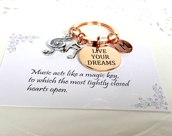 Musician Graduation Keychain,Music Graduation Gift,Music Note charms,Christmas gift,Musician's gift,Musical note charms,Free Shipping In USA