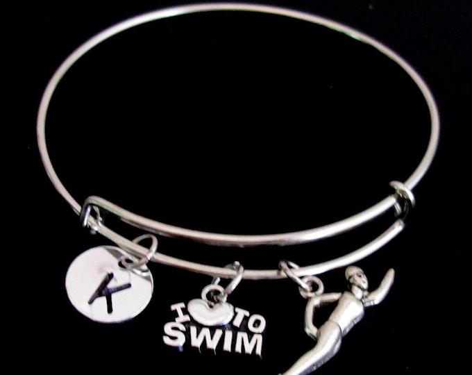 Swimming Bracelet, Swimming Expandable Bangle, Personalized Bracelet, Initial Bracelet,Swimming lover bracelet,Sports Gift Free Shipping USA