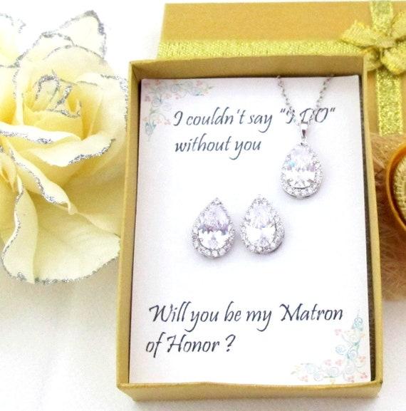 Custom Color, Bridesmaid Gift set, Wedding Earrings, Cubic Zirconia, Teardrop Earrings, CZ necklace bracelet set, Wedding Party gift Jewelry