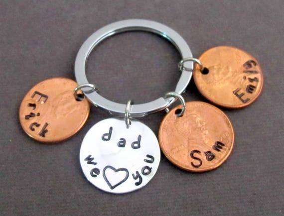 We Love You Kechain Father's Day Gift- Dad Key Chain,Dad,Lucky Penny Keychain,Gift for Dad,Grandpa Gift,Custom Dad Keyring,Free Shipping USA