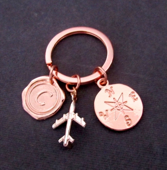 Compass Keychain,Rose Gold Airplane Keychain,North South East West,Wanderlust Keychain,Adventure,Travel Keychain,Free Shipping USA