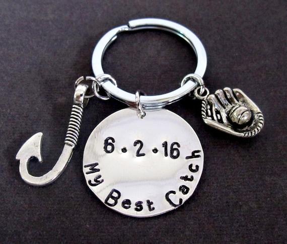 My Best Catch Keychain, Anniversary Gift, Anniversary Date Keychain,Lovers Jewelry,Couples Jewelry Wedding Keyring,Free Shipping  USA