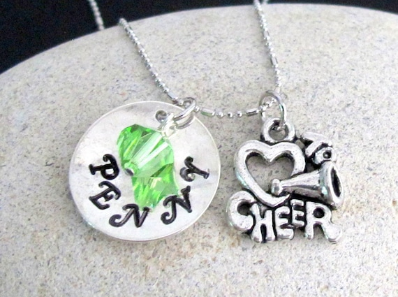 Cheer Necklace - SALE - Personalized Cheer Jewelry Cheer Team Jewelry -cheerleader necklace, Homecoming - Squad Leader Free Shipping In USA