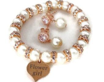 Rose gold  Bracelet Set, Flower girl gift Jewelry, Junior bridesmaid gift, Wedding Jewelry, Rhinestone, Pearl Bracelet, Wedding Party gifts