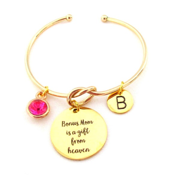 Gift for Bonus Mom,Best Bonus Mom,Gold Bangle Bracelet,Bonus Mom Gift,Godmother gift, Step Mom Gift, Mother In Law Gift, Free Shipping USA