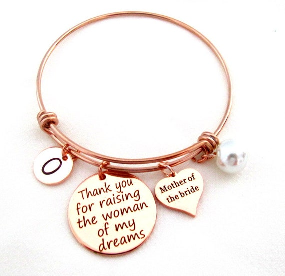 Rose Gold Wedding Bangle Bracelet,Mother of Bride,Thank You for Raising the Woman of My Dreams, Wedding gift from Groom, Free Shipping USA