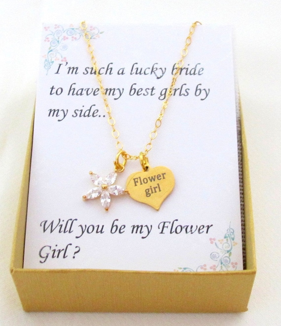 Gold Plated Flower girl Necklace, Flower girl rose necklace, flower girl jewelry,CZ Flower Gold Necklace,Personalized gift Free Shipping USA