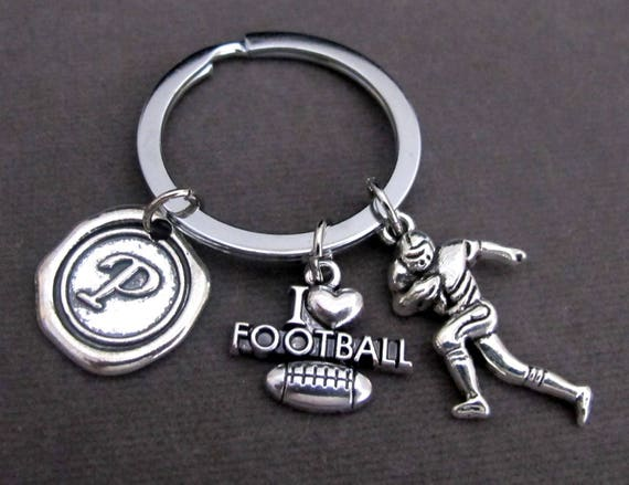 Personalized I Love Football Keychain,Football Keyring,Gift for Football Players,Football Gift,Athlete KeyChain,Coach gift,Free Shipping USA