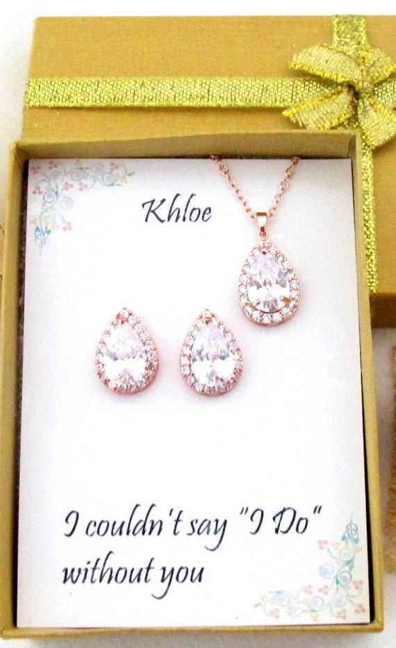 Rose Gold Bridesmaid gift set, Cubic Zirconia, Teardrop Bridesmaid Necklace Earrings Set, Bridesmaid Jewelry, Mother gift, Bridal party gift