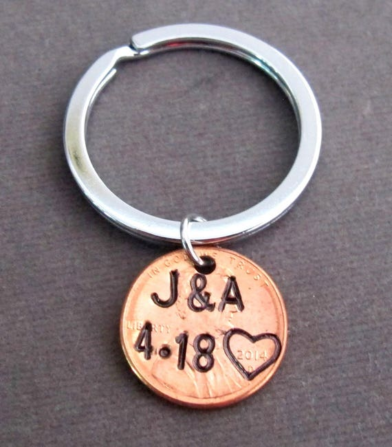 Personalized Penny Keychain,Handstamped Husband Wife Key Chain,Anniversary Gift,Valentines Day Keyring,Couple Jewelry, Free Shipping In USA