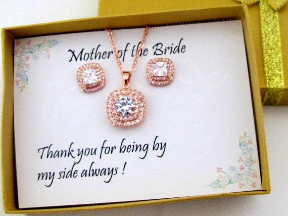 Custom Color Wedding Jewelry Set, Bridesmaid gift set, Cubic Zirconia Earrings, CZ Necklace Set, CZ Bridal Jewelry, CZ Wedding Stud Earrings
