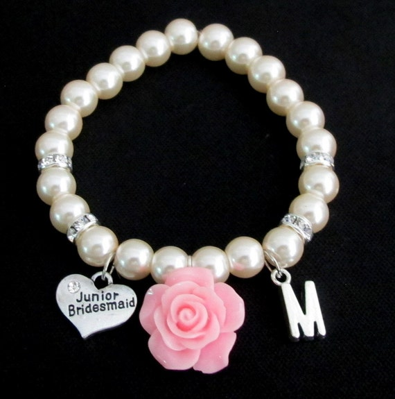Personalized Junior Bridesmaid Bracelet,Pink Rose Flower Initial Pearl Bracelet, Jr Bridesmaid Bracelet,Childrens Jewelry, Free Shipping USA