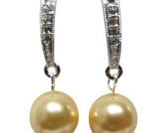 Custom pearl color wedding jewelry, Yellow Pearl Earrings, CZ bridesmaid gift,  Pearl stud earrings ,Bridesmaid earrings, Graduation gift