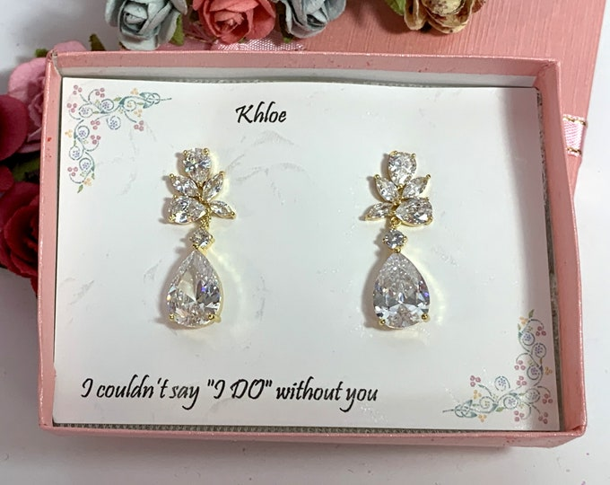 Rhinestones pageant earrings prom earrings,bridal earrings, bridesmaids jewelry crystal teardrop earrings gold wedding bridal earrings